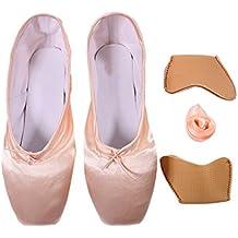 DoGeek - Alta Calidad Transpirable Pointe Zapatos de ballet Pointe Ballet Zapatillas de Ballet de Danza Baile con Cintas y Toe pads y Covert Elastic