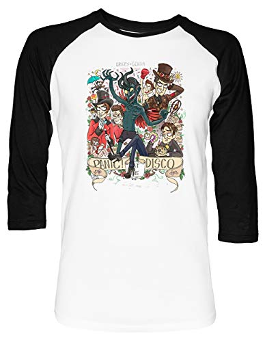 Panic! at The Disco - Panic at The Disco PATD Unisex Baseball T-Shirt 2/3 Ärmel Herren Damen Weiß Schwarz