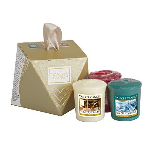 Yankee candle set regalo per calza natalizia con 3 candele votive profumate