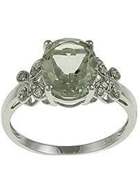 10K oro blanco ovalado verde amatista y anillo de diamante (1/10cts)