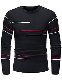 ZIYOU Sweatshirt Männer, Herren Freizeit Gestreift Hemd Pullover mit Rundhalsausschnitt/Outdoor Yoga Hippie Tops Sweater