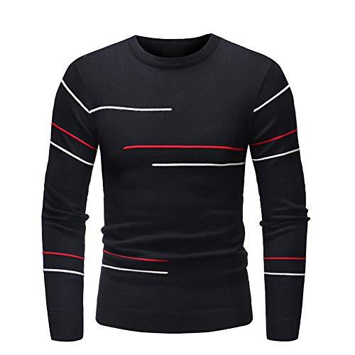 Btruely Sweatshirt Herren Herbst Slim Langarm Strickwaren Outwear Männer Pullover Vintage Strickpullover Streifen T-Shirt Hemden Rundhals Langarmshirt