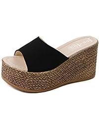 SHINIK Zapatos de mujer, sandalias de verano y chanclas sandalias de plataforma gruesa para verde, negro, beige...