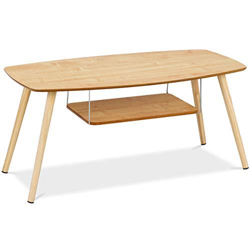 Yongtaifeng Table Basse de Café Design Laquées Scandinave Moderne Table de Salon en Bois 2 étages (Modèle 1)