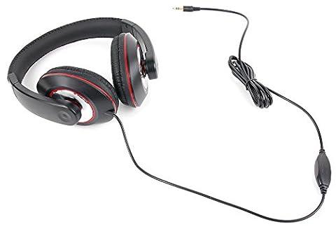 Kopfhörer mit gepolsterten Ohrmuscheln (Schwarz/Rot) für Nubia N1 Lite und Gionee A1 / A1 Plus / Steel 2 Smartphone sowie für HIFI + TV