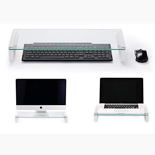 Durchsichtige Glas klar Computer Monitorständer Riser, Desktop-Regal Sparen Platz Multimedia Desktop-ständer Für Office -USB 55x21x8cm(22x8x3) - Einstellbare Multimedia-regale