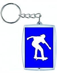 """'Porte-clés """"de skateboard athlète de Jeunes d'Exercice de fitness de santé de jouer humaine de silhouette de Sport Trick en noir/blanc/bleu/rose/jaune/rouge/vert   Caddie–Sac Remorque–Sac à dos–Porte-clés, bleu"""