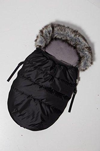 """Kutnik Chancelière universelle/sac de couchage Cocoon""""Polar"""" 100 cm pour poussette et luge (Noir avec Gris)"""