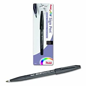 Pentel Arts Sign Pen With Brush Tip-Black