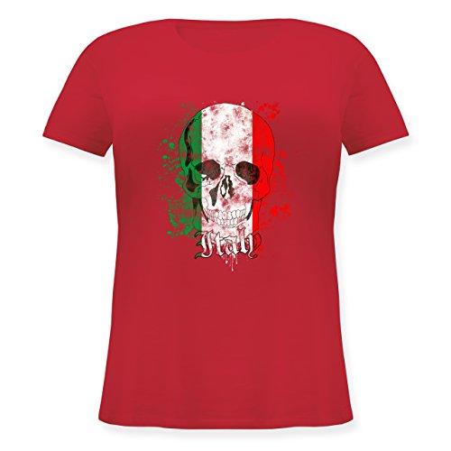 EM 2016 - Frankreich - Italy Schädel Vintage - Lockeres Damen-Shirt in großen Größen mit Rundhalsausschnitt Rot
