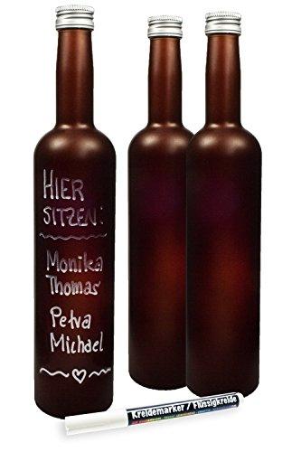 3 x beschreibbare Flaschen 500 ml mit Verschluss und 1 x Flüssigkreidestift, als Tischdeko, Menükarte, Platzkärtchen oder einfach für nette Sprüche