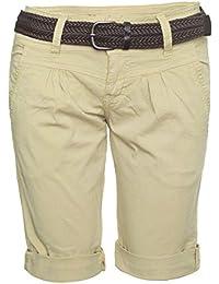 2e1c113247b9 Fresh Made Damen Short Sommer Kurze Hose Bermuda Chino Shorts inkl. Gürtel  B210