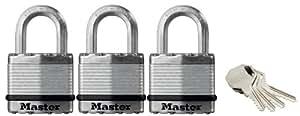 Master Lock M1EURTRI Lot de 3 Cadenas Haute Sécurité à Clés Identiques de 45 mm