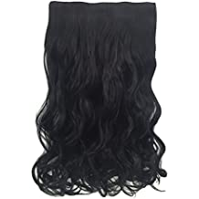 "Frcolor 21 ""3/4 cabello completo rizado sintéticas extensiones de cabello clip en / en pinzas 5 clips (negro -1b)"