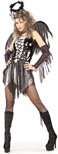 Engel Halo Und Schwarz Flügel (Damen Sexy Schwarz Dunkel Gefallener Engel Halloween Kostüm Kleid Outfit & Wings - Schwarz, Schwarz,)