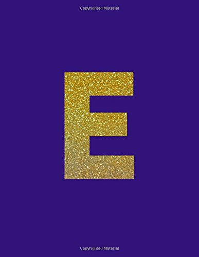 E: Monogram Letter Notebook, Dark Purple/Gold Letter E, 100 Pages, College Ruled (Large, 8.5 x 11 in.)