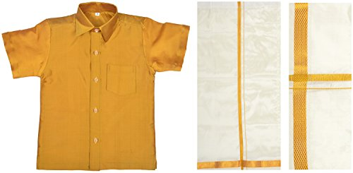 Minor Mappillai Boys' Silk Clothing Set (MFSetOff15_1yr, Gold, 1yr)