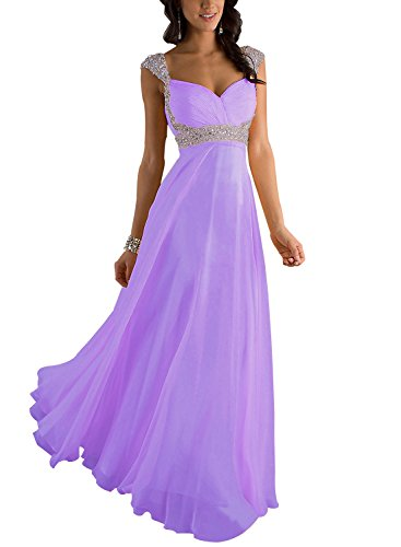 Erosebridal Formal Chiffon Lange Brautjungfernkleider Abendkleid DE 36 Lavendel