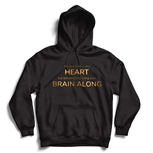 lepni.me Kapuzenpullover Folgt eurem Herzen und bringt euer Gehirn, inspirierendes Angebot. (XXX-Large Schwarz Mehrfarben)