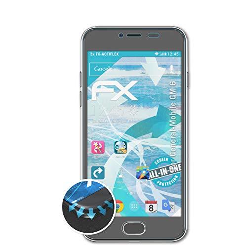 atFolix Schutzfolie passend für General-Mobile GM 6 Folie, ultraklare & Flexible FX Bildschirmschutzfolie (3X)