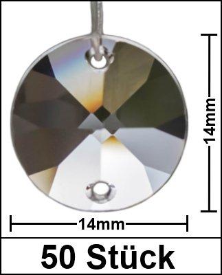 50 Stück Kristall Glas Sonnen Octagons rund 14mm 30% PbO Bleikristall