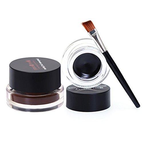 Demarkt 2Pcs Etanche Gel Eyeliner Eye Liner Brosse Cosmétiques Brun Noir (2 Eyeliner + 2 Brush)