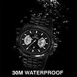 Lamkei LAM-1160 Date Watch for Men - Fashion Luxury Casual Chronograph Design Multifunction Black Dial Black Stainless Steel Chain Stylish Latest Men's Watch