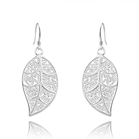 Modische Blatt Ohrhänger Ohrringe Leaf Echt Sterling-Silber 925 Für Frauen Damen Kinder Mädchen Glänzend Glitzer Strass Geschenk Valentinstag