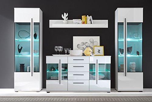 Wohnzimmer Set mit Standvitrinen & LED-Beleuchtung 270cm 4-teilig 440944 weiß - 2