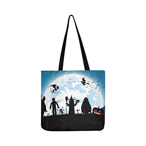 Vollmond auf nacht mit vielen geist leinwand tote handtasche umhängetasche crossbody taschen geldbörsen für männer und frauen einkaufen tote