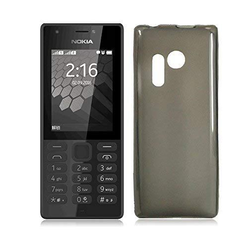 Nokia 216 Hülle, MaxKu Soft Kratzfest Hülle Rutschfest Shock Proof Kohlefaser Rück Schale silikon Cover Case Schutz für Nokia 216, Grau