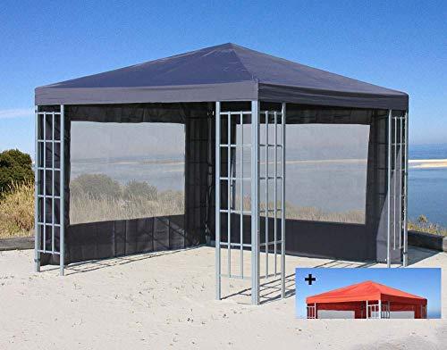 Quick-Star Rank Pavillon Set 3x3m Metall Garten Partyzelt Anthrazit mit extra Ersatzdach