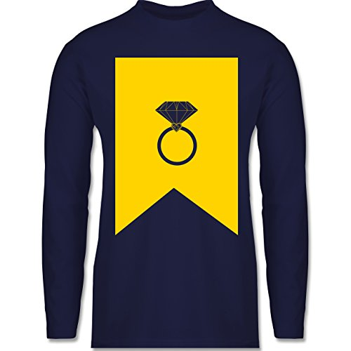 Shirtracer Symbole - Ring Brilliant - Herren Langarmshirt Navy Blau