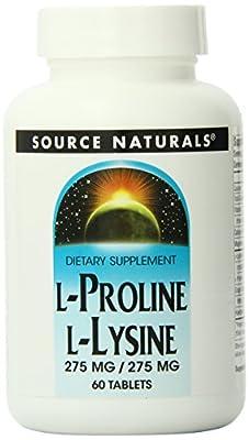 Source Naturals L-Proline 275/L-Lysine 275, 60 Tabs by Source Naturals