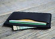 Nero Portafoglio in pelle. Portacarte di credito, contanti o carta d'identità. Tasca Unisex in stile rustico