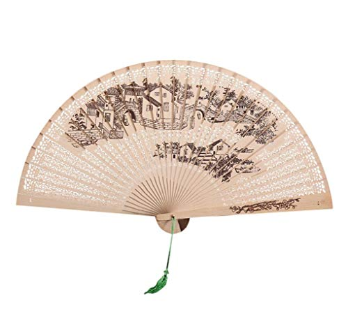 QinMM Chinesische traditionelle Handfächer, hohlen Fan aus Holz handgemachte exquisite faltende Hand Fan Hochzeitsgeschenk (B)
