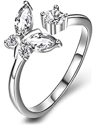 MESE London Pink Heart Gemstone 925 Sterling Silver Adjustable Rose Gold Plated Bowknot Love Ring - Free Gift Box
