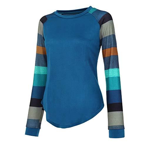 (BHYDRY Mode Frauen Streifen Casual Top T Shirt Damen Lose Langarm Top Bluse(Small,Blau))