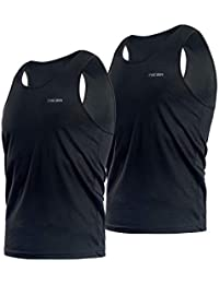 4aa3c0625b5a Niksa 2 Pack Mens Gym Workout Vest Tank Top Running Training Vest Tops for  men