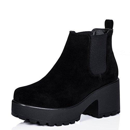 Chelsea-Stiefeletten Schuhe Blockabsatz Plateau Schwarz Synthetik Wildleder EU (Für Billig Boots Schwarz Frauen)