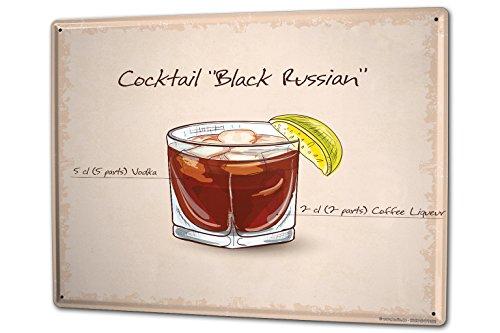 Cartello Targa in Metallo XXL Nostalgico Alcool Retro Cocktail black russian