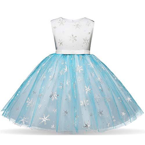 Kinder Kind Mädchen Weihnachten Schneeflocke Print Prinzessin Bling Tutu Kleid Kleidung Malloom, (12M-7T) ärmellose Schneeflocke Pailletten Print Mesh Rock Kleid Rock Kleid