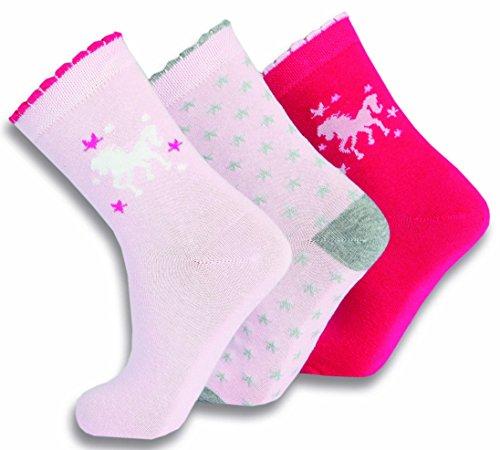 Preisvergleich Produktbild SOCKS PUR Mädchen Söckchen Pferd - Stern und uni Motiv 3er PACK (31/34, rose-rose-pink MIX)