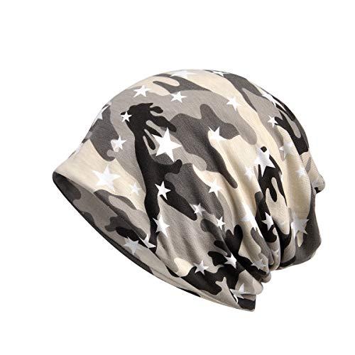 Amorar Unisex weiche Baumwolle Slouchy Beanie Bandana Infinity Schal Schlaf Cap Camouflage Kopfbedeckungen Sonnenhut für Haarausfall Krebs Chemo,EINWEG Verpackung - Camouflage Crown Cap