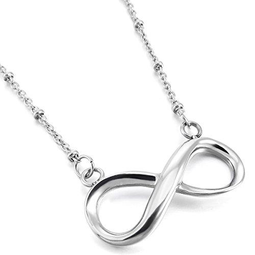 MunkiMix Acciaio Inossidabile Pendente Ciondolo Collana Argento Infinity Infinito Simbolo Amore Fascino Elegante 19 Pollici Catena Catenina Donna