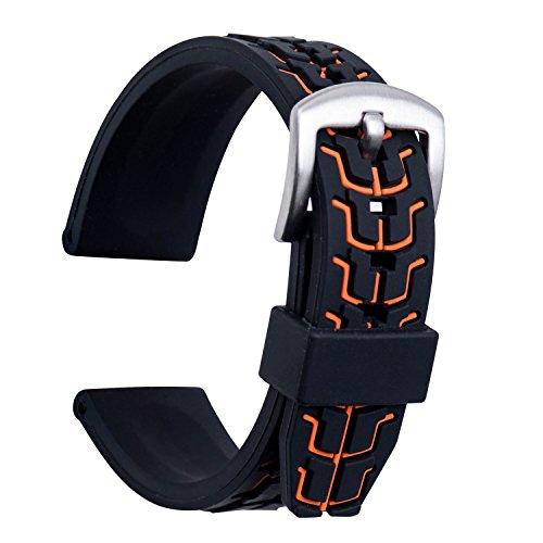 ULLCHRO Unisex Kautschuk Armband mit Gebürstete Edelstahl Silber Schnalle 22mm Orange