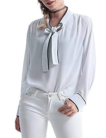 Abollria Womens Vintage Bow Tie Neck Long Sleeve Chiffon Blouse Tops (Large, White)