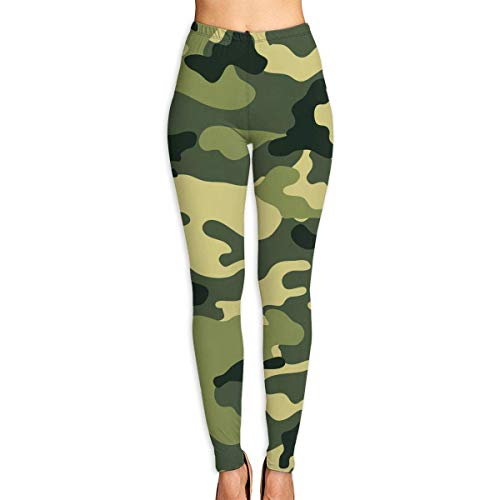 Ewtretr Yoga Pilates Hosen Fitnesshose für Damen, Military Camo Woodland Camoflage Printed Leggings Full-Length Yoga Workout Leggings Pants