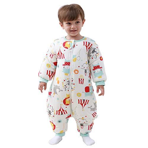 Baby Schlafsack mit Beinen warm gefüttert Winter Langarm Winterschlafsack mit Fuß 3,5 Tog (S/Körpergröße 70cm-80cm, Rot)