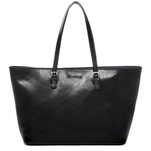 FEYNSINN Laptoptasche Leder GRACE groß Businesstasche Damen 15 Zoll Laptop Aktentasche mit Extra-Abtrennung bis 15,4 Zoll echte Ledertasche Damentasche schwarz
